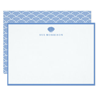 Classic Blue Seashell Personalized 5x7 Stationery Card