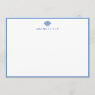 Classic Blue Seashell Personalized 5x7 Stationery Note Card