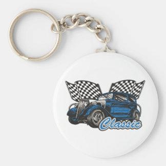 Classic Blue Sedan Keychain