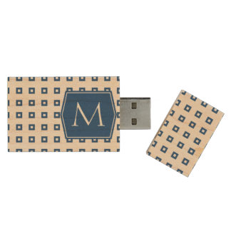 Classic Blue Square Pattern Monogram Customizable Wood USB Flash Drive