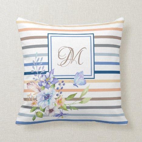 Classic Blue Stripe Coral Blue Floral Monogram Throw Pillow