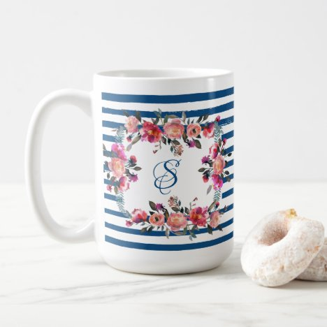 Classic Blue Stripe Coral Pink Floral Monogram Coffee Mug