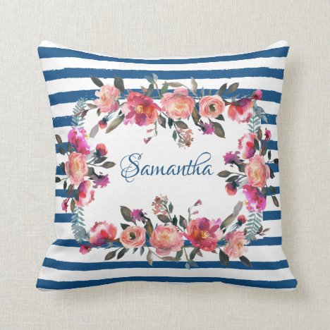 Classic Blue Stripe Coral Pink Floral Personalized Throw Pillow