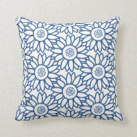 Classic Blue Sunflower Pattern Throw Pillow