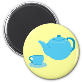 Classic Blue Teapot 2 Inch Round Magnet