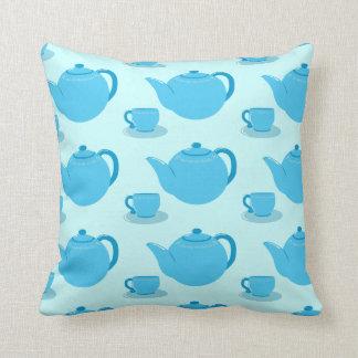 Classic Blue Teapot Throw Pillow