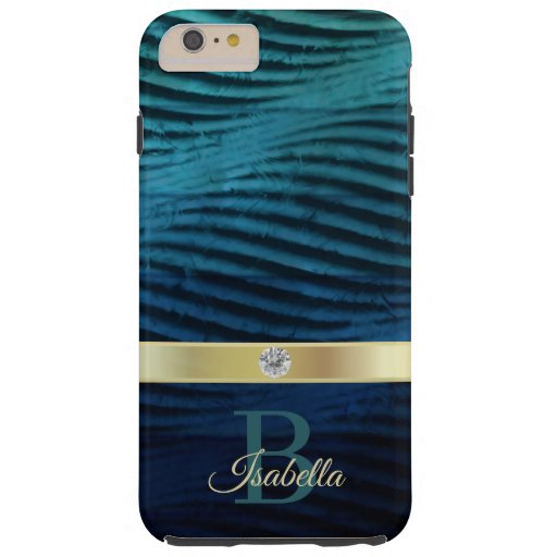 Classic Blue  Waves With Gold Tough iPhone 6 Plus Case