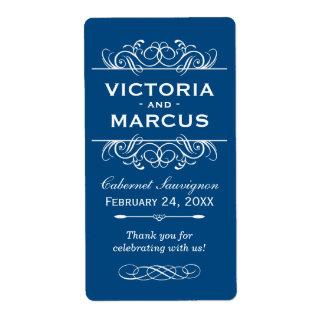 Classic Blue Wedding Wine Bottle Monogram Favor Shipping Label