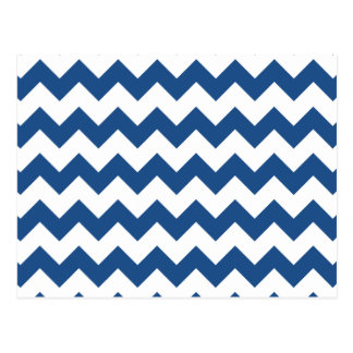 Classic Blue White Chevron Pattern Postcard