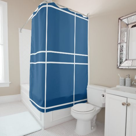 Classic Blue White Geometric Lines Shower Curtain