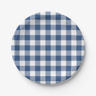 Classic Blue White Gingham Plaid Pattern Paper Plate