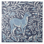 """Classic Blue White Ornate Deer Forest Birds Art Ceramic Tile<br><div class=""""desc"""">In beautiful classic blue and white, a woodland montage features a deer and birds in a forest setting.. Unique, ornate, fanciful and on trend for home decor accents. My blue and white artwork is inspired by antique Asian chinoiserie and Delft pottery. Matching tile are available featuring different creatures and motifs....</div>"""