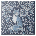 """Classic Blue White Ornate Fox Forest Floral Art Ceramic Tile<br><div class=""""desc"""">In beautiful classic blue and white, a woodland montage features a fox & stylized berries and foliage in a floral forest setting.. Unique, ornate, fanciful and on trend for home decor accents. My blue and white artwork is inspired by antique Asian chinoiserie and Delft pottery. Matching tile are available featuring...</div>"""