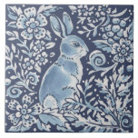 """Classic Blue White Ornate Rabbit Fern Floral Art Ceramic Tile<br><div class=""""desc"""">In beautiful classic blue and white, a woodland montage features a bunny rabbit, ferns & stylized berries and foliage in a floral forest setting.. Unique, ornate, fanciful and on trend for home decor accents. My blue and white artwork is inspired by antique Asian chinoiserie and Delft pottery. Matching tile are...</div>"""