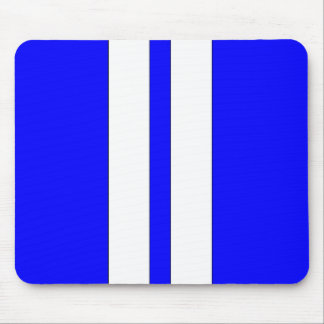 Classic Blue & White Retro Car Racing Stripes Mouse Pad
