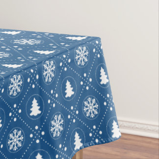 Classic Blue White Snowflakes Christmas Trees Tablecloth