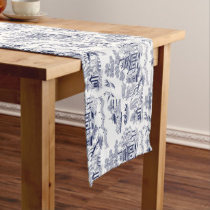 Classic Blue Willow China Design Short Table Runner