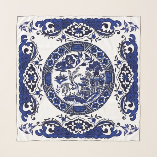 Classic Blue Willow China Design v2 Scarf