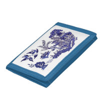 Classic Blue Willow Design Trifold Wallet