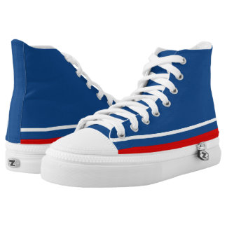 Classic Blue with White and Red Trim Zipz Hi-Top