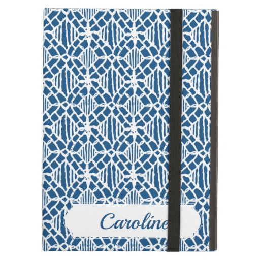Classic Blue With White Crochet Lace Pattern Case For iPad Air