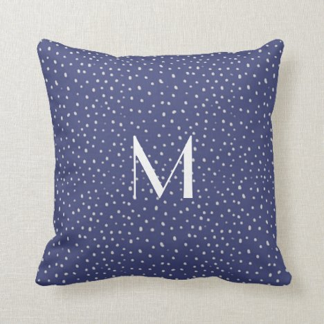 Classic Blue with White Dots Modern Throw Pillow