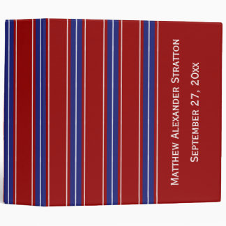 Classic Blueand White Stripes on Nautical Red Binders