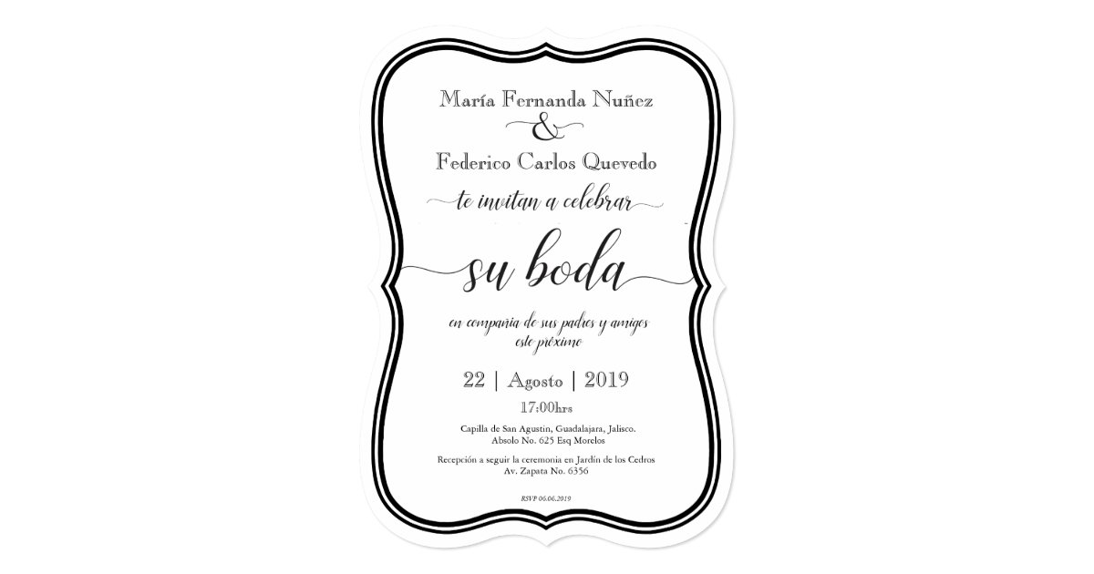 Spanish Wedding Invitations Examples: CLASSIC BODA Editable Spanish Wedding Invitation