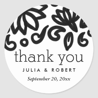 Classic Bold Floral Pattern Wedding Thank You Classic Round Sticker