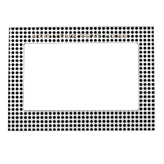 Classic Bold Modern Black and White Polka Dots Magnetic Picture Frame