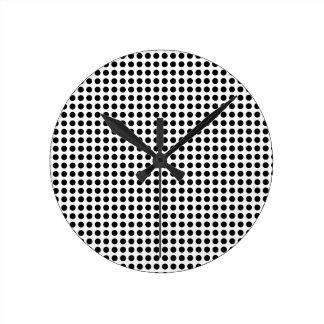 Classic Bold Modern Black and White Polka Dots Round Clocks
