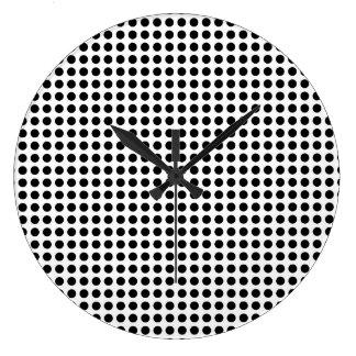 Classic Bold Modern Black and White Polka Dots Clocks