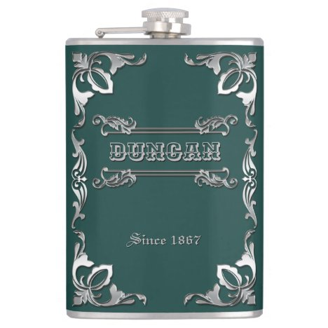 Classic Book Cover Silver Ornament Dark Green Flask
