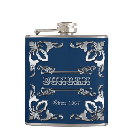 Classic Book Cover Silver Ornament Navy Blue Flask