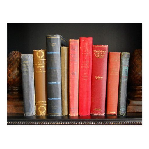 Classic Books on a Shelf Post Card