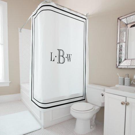Classic Border Monogrammed Shower Curtain
