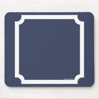 Classic Border Mousepad in Nautical Navy White Mouse Pad
