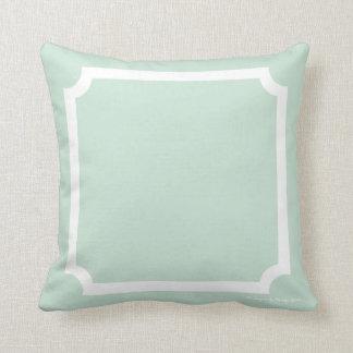 Classic Border Pillow in Seaglass/White