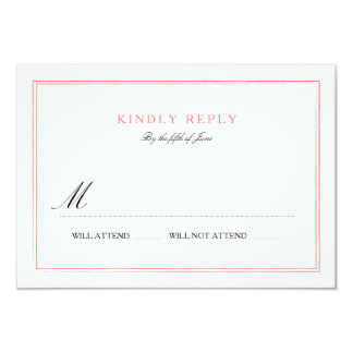 Classic Border Wedding RSVP- Coral 3.5x5 Paper Invitation Card