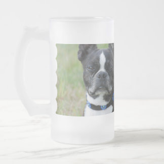 Classic Boston Terrier Dog Frosted Glass Beer Mug