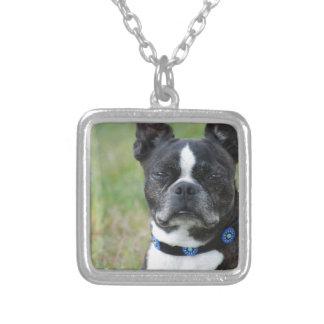 Classic Boston Terrier Dog Square Pendant Necklace