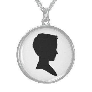 Classic Boy Silhouette Round Pendant Necklace