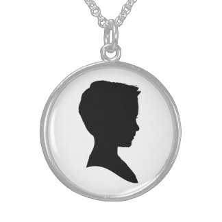 Classic Boy Silhouette Round Pendant Necklace