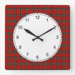 Classic Bright Red Vintage Plaid Pattern Square Wall Clock