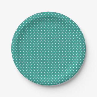 Classic Bright Teal and White Polka Dot Plates