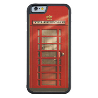 Classic British Red Telephone Box Carved® Maple iPhone 6 Bumper Case