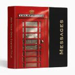Classic British Red Telephone Box Personalized 3 Ring Binder