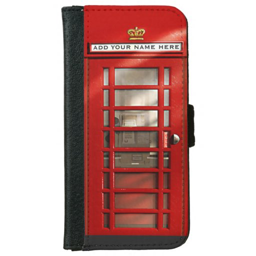 Classic British Red Telephone Box Personalized iPhone 5 Wallet Case