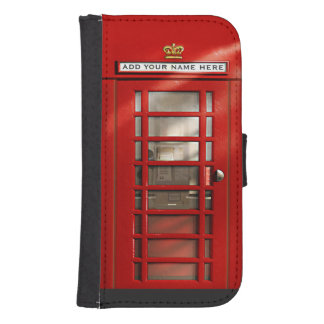 Classic British Red Telephone Box Personalized Galaxy S4 Wallet Case