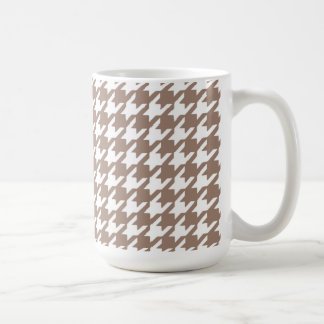 Classic Brown and White Houndstooth Pattern Mug